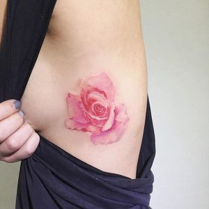 Blooming Rose Side Body Tattoo