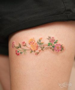 Watercolor Asters And Morning Glories Thigh Tattoo