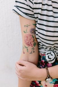 Watercolor Flowers Upper Arm Tattoo