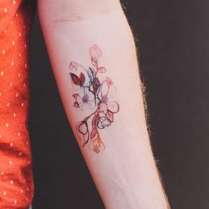 Xray Inspired Watercolor Flowers Forearm Tattoo