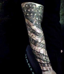Black And Grey Themed American Flag Tattoo Sleeve