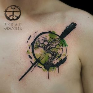 Contemporary Watercolor Tree Chest Tattoo