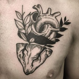 Divided Anatomical Heart Tattoo