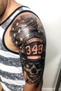 Fallen Fighter With American Flag Tattoo