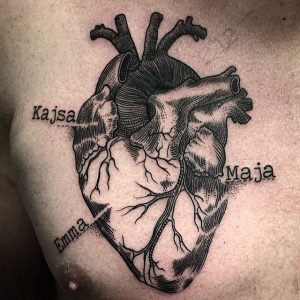 Linework Anatomical Heart With Names Chest Tattoo