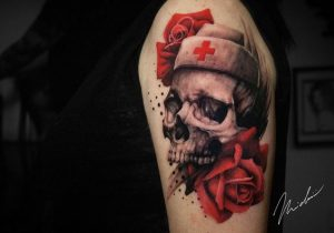 Nurse's Skull With Red Roses Arm Tattoo