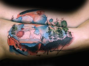 Watercolor Trees Arm Tattoo