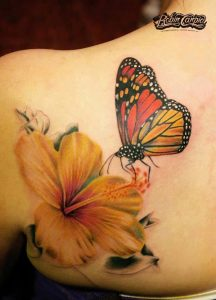 Hibiscus With Butterfly Tattoo