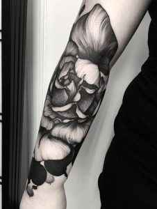 Linework Floral Forearm Tattoo