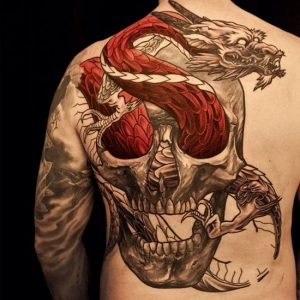 Red Dragon And Skull Back Tattoo