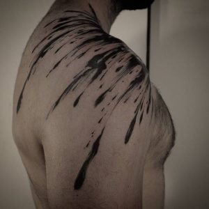 Brush Stroke Abstract Shoulder Tattoo