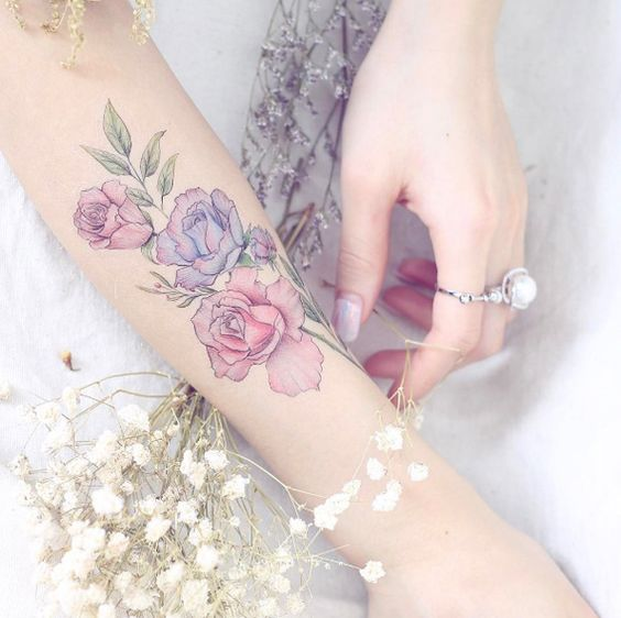 Pastel Floral Bouquet Forearm Tattoo