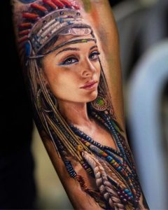 Lovely Indian Lady Tattoo