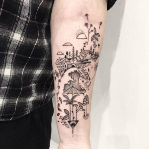 Fancy Abstract Forearm Tattoo