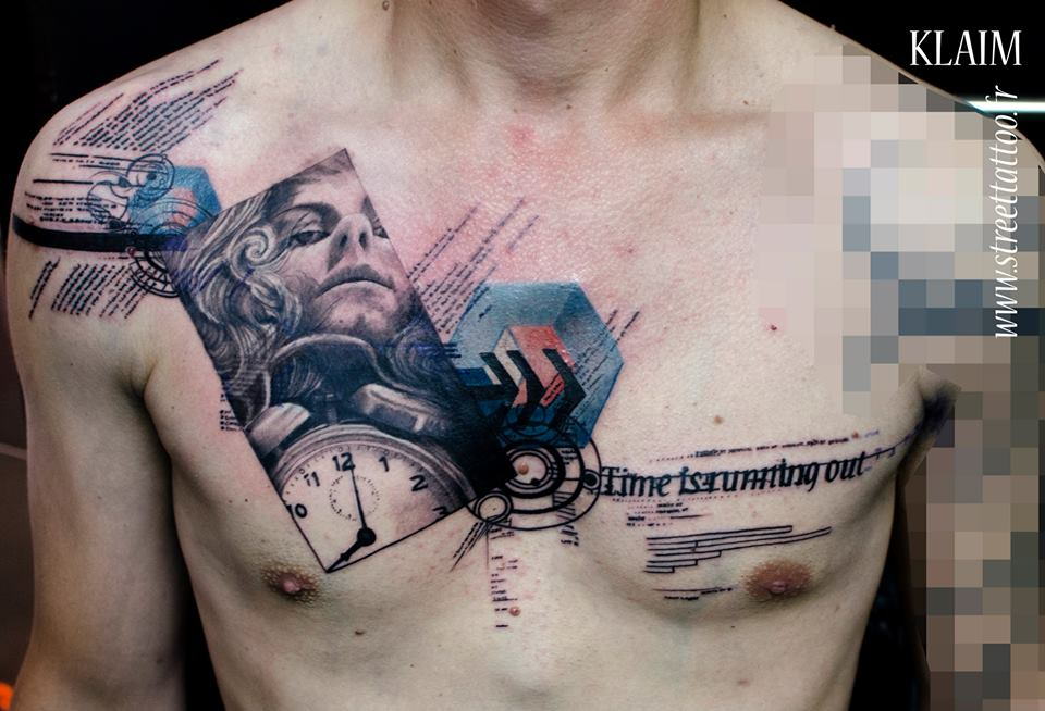 Photograph And Typography Abstract Chest Tattoo