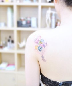 Dreamy Balloons Back Shoulder Tattoo