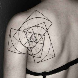 Abstract Golden Ratio Back Tattoo