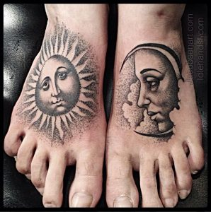 Dotwork Sun And Moon Foot Tattoos