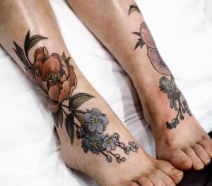 Floral Bouquet Foot Tattoo