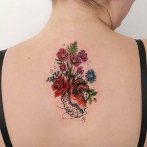 Floral Heart Back Tattoo