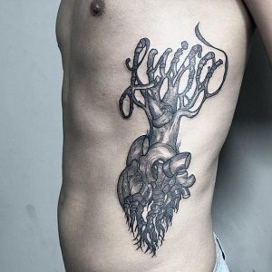 Heart Roots Side Body Tattoo