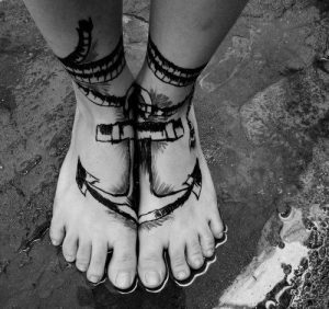 Joined Anchor Foot Tattoo
