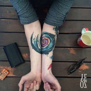 Sketchy Golden Ratio Forearm Connecting Tattoos