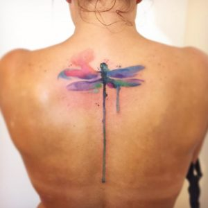 Dripping Dragonfly Back Tattoo
