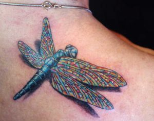 Multicolored Dragonfly Back Tattoo