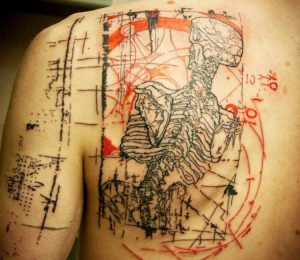 Abstract Skeleton Back Tattoo