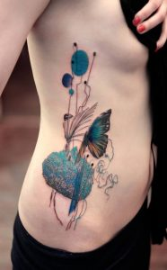 Peacock and Butterfly Design Side Tattoo