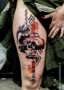 Surreal Contemporary Thigh Tattoo