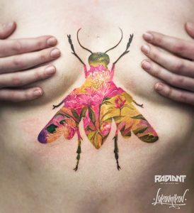 Botanical Fly Double Exposure Sternum Tattoo