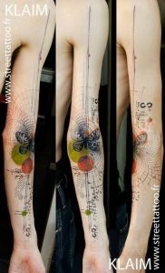 Butterfly And Geometric Shapes Arm Tattoo