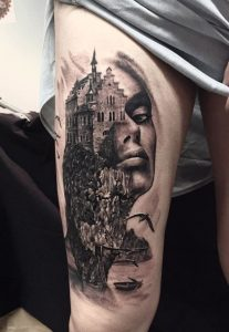 Castle And Portrait Double Exposure Thigh Tattoo