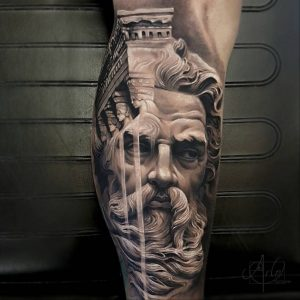 Classical Inspied Double Exposure Leg Tattoo