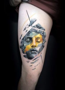 Color Brushed Sculpture Thigh Tattoo