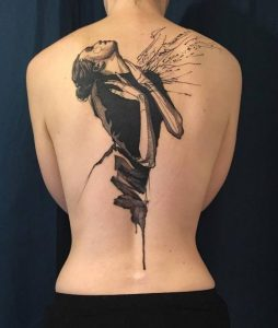 Dripping Sketchy Lady Back Tattoo