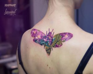Floral Moth Double Exposure Back Tattoo