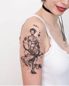 Graphic Lady With Arrow Tattoo