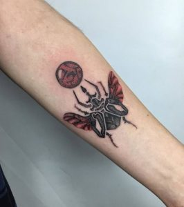 Dotwork Colored Beetle Tattoo