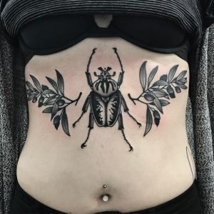 Traditional Goliath Beetle and Olive Branches Tattoo