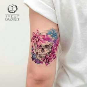 Watercolor Floral Skull Arm Tattoo
