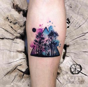 Watercolor Forest Forearm Tattoo