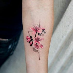 Watercolor Orchid Geometry Forearm Tattoo