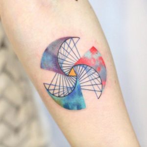 Watercolor Spiral Forearm Tattoo