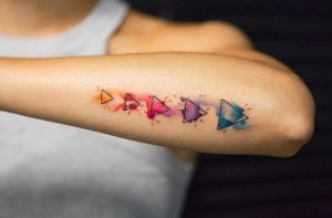 Watercolor Triangles Arm Tattoo