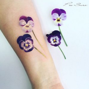 Watercolor Violets Forearm Tattoo