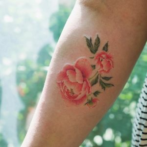 Delicate Pink Peonies Forearm Tattoo