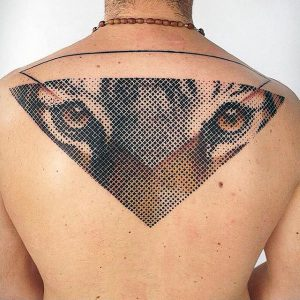 Graphic Tiger Face Back Tattoo